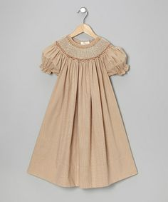 Take a look at this Beige Carla Bishop Dress - Infant, Toddler & Girls by Rosalina on #zulily today!