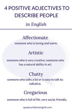 English Vocabulary. Positive and kind adjectives for describing your coworkers in English. Get the full lesson with 23 adjectives to positively describe people at https://www.speakconfidentenglish.com/describe-people-positively-english/?utm_campaign=coschedule&utm_source=pinterest&utm_medium=Speak%20Confident%20English%20%7C%20English%20Fluency%20Trainer