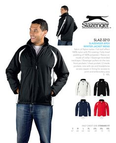 A Slazenger Apex Winter Jacket is great way to keep warm this winter. Brand Innovation supplies Slazenger clothing and other corporate clothing brands in SA Brand Innovation, Corporate Outfits, Keep Warm, South Africa, Winter Jackets, Clothing, Men, Fashion, Outfit