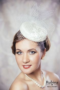 Cream Bridal Pillbox Hat Fascinator with by RUBINAMillinery