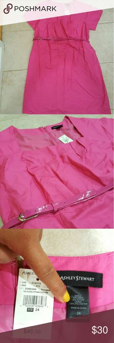 Ashley Stewart pink sheath dress Item:pink sheath dress with pink belt attached  Brand: Ashley Stewart  Size: 24 Condition: new with tags Ashley Stewart Dresses Midi