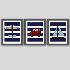 Airplane, car, boat printable Boy Nursery or room art  8x10 digital files