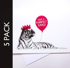 Christmas Party Animal - Tiger - Funny Xmas Cards Pack of 5. £6.00, via Etsy.
