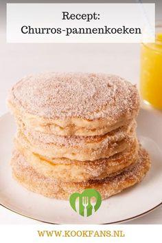 Deze twee heerlijke traktaties eten we dan ook graag. Toen we dit recept voor churros-pannenkoeken zagen moesten we het dan ook snel uitproberen. Lekker dat het is! Baking Recipes, Snack Recipes, Dessert Recipes, Desserts, I Love Food, Good Food, Yummy Food, Churros, Snacks Für Party
