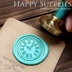 1pcs Clock Gold Plated Wax Seal Stamp by HappyJewelrySupplies, $9.80