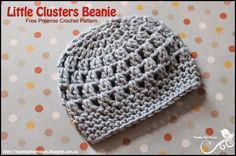 MammaThatMakes. Free cluster stitch crochet hat pattern for a preemie baby of 26 weeks gestation.