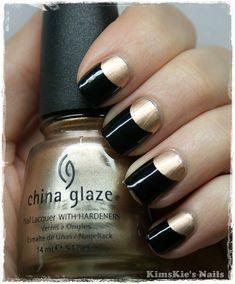 Gold & Black half moon manicure