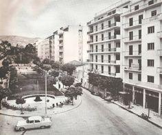 Kυψέλη, Φωκίωνος Νέγρη, 1959. Νεόδμητες πολυκατοικίες, ενώ η περιοχή δεν έχει ακόμα πεζοδρομηθεί.