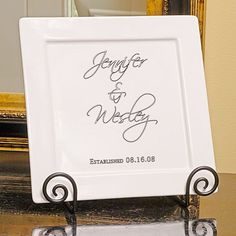 Personalized Square Platter and Easel Set - Perfect personalized gift, and great for the holidays when serving platters are being used constantly for holiday parties! - #Christmas #Newlyweds #FirstChristmas