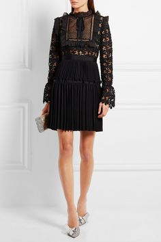 SELF-PORTRAIT - ADELINE ORGANZA-TRIMMED GUIPURE LACE AND CREPE MINI DRESS | THE UNTITLED BOUTIQUE
