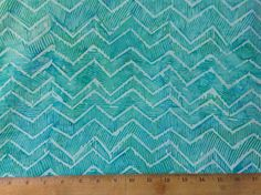 Aqua Tonga Chevron Fabric  cotton fabric by by OmasFabricAndGifts
