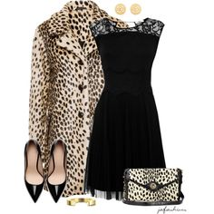 """""""Leopard & Black"""" by jafashions on Polyvore"""