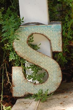 Large 9 inch Wooden Letter- Any letter of your choice in Vintage Baby theme. $15.00, via Etsy.