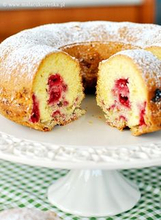babka z malinami Polish Desserts, Polish Recipes, Polish Food, Biscuits, Different Cakes, Sweet Cakes, Coffee Cake, Cake Cookies, Sweet Recipes