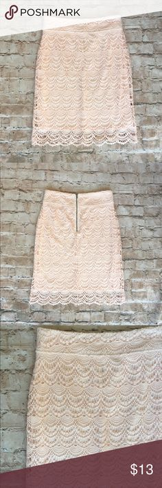 Downeast Basics Scallop Lace Skirt Worn once for a wedding- no issues. Knee-length. True to size. Downeast Outfitters Skirts Pencil