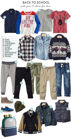 Back To School boys capsule collection (with 16 styled outfits)
