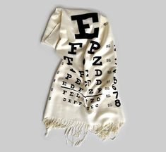 Eye Chart scarf. Traditional weight pashmina. Black silkscreen print on cream & more, Optician, optical shop, eye doctor, glasses gift.