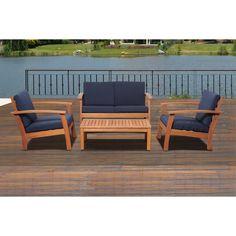 Amazonia Pacific 4 Piece Patio Conversation Set (Blue), Size 4-Piece Sets, Patio Furniture (100% FSC)