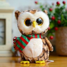 Ty Big Eyes Beanie Boos Kids Plush Toys Wise Owl With Scarf Lovely Children's Christmas Gifts Kawaii Cute Stuffed Animals Dolls