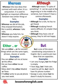 80+ Best Conjunctions images in 2020   learn english, english grammar,  conjunctions