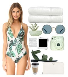 """Untitled #63"" by lilykibu ❤ liked on Polyvore featuring Stone Fox, Linum Home Textiles, Chen Chen & Kai Williams, Ray-Ban, Paul Andrew and Prada"