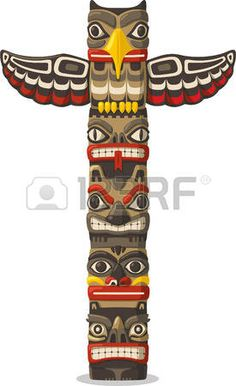 totem pole: Totem being object symbol animal plant representation family clan tribe, vector illustration cartoon.