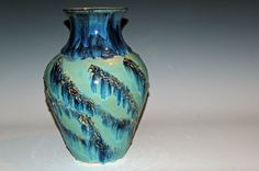 Large Pottery Vase with Blue and Green Glazes by nhfinestoneware