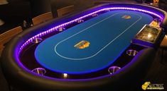 Texas Hold'em Poker Table with LED lights for hire