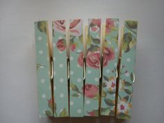 Clothespins Fridge Magnets Magnetic Pegs mint by TheHomemadeHaven, £3.99