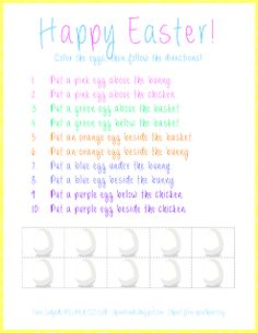Spatial Concepts: Following Directions (Easter Theme) pinned by @PediaStaff – Please Visit  ht.ly/63sNt for all our pediatric therapy pins