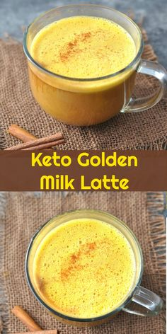 Keto Golden Milk Latte Turmeric Tea Peace Love and Low Carb is part of Golden milk latte - All the healthy benefits of immune boosting, antiinflamatory turmeric in a rich and delicious dairy free, fat burning Bulletproof Keto Golden Milk Latte Tumeric Latte, Turmeric Tea, Turmeric Smoothie, Low Carb Drinks, Healthy Drinks, Diet Drinks, Beverages, Healthy Eating, Milk Recipes