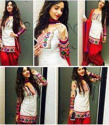 Buy Cream cotton embroidered semi stitched salwar with dupatta patiala-salwar online