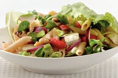 Pas­ta­sa­la­de met brie en wal­no­ten Healthy Salad Recipes, Pasta Recipes, Vegetarian Recipes, Cooking Recipes, Yummy Recipes, Good Food, Yummy Food, Healthy Cooking, Food Inspiration