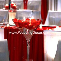 A martini glass vase wedding centerpiece with white crushed glass, red rose petals and ivory floating candles (simple wedding centerpieces blue) Floating Candle Centerpieces, Simple Wedding Centerpieces, Flower Centerpieces, Wedding Decorations, Centerpiece Ideas, Party Centerpieces, Table Decorations, Red Rose Petals, Red Roses