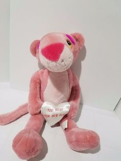 """Pink Panther """"Too Sexy For His Fur"""" Heart Valentine 20"""" Plush Toy Stuffed Animal 
