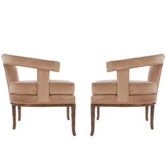 Pair of Mid-Century Velvet Lounge Chairs after Harvey Probber or James Mont