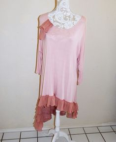 Altered pink women's tunic  feminine, romantic, asynmetc hemline, ruffled top, Size: Large, Shabby Chic Top, Eco-Friendly, mori girl style by CrossMyHeartBags on Etsy