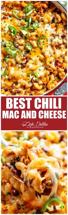 Chili Mac and Cheese with beans is the ultimate mash up of TWO favourites! Using leftover chili OR chili made from scratch, this casserole is ready and on the table in less than 30 minutes! | cafedelites.com #cafedelites #macandcheese #chili #easyrecipes #dinner #cincodemayo