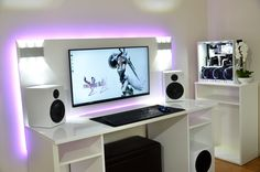 Marvelous c computer table to inspire you table 10 DIY Computer Desk Ideas for Home Office - Interior Pedia Custom Computer Desk, Pc Gaming Desk, Gaming Room Setup, Pc Desk, Gaming Rooms, Setup Desk, Computer Desk Setup, Pc Setup, Office Setup