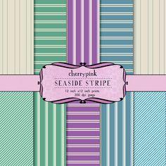 Stripe digital Paper blue green purple by CherryPinkPrints on Etsy