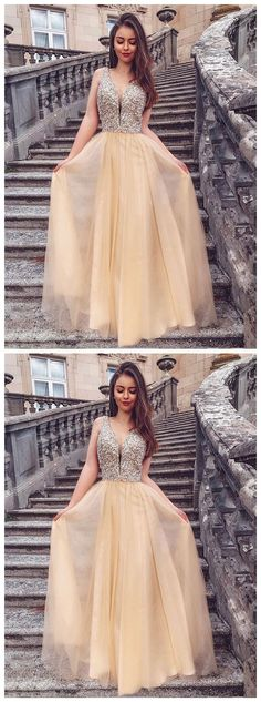 Champagne v neck beads long prom dress evening dress  by olesaweddingdresses, $132.46 USD Evening Dresses, Prom Dresses, Formal Dresses, Prom Tips, Chromatic Aberration, Wedding Veil, Different Fabrics, Champagne, Fashion Dresses