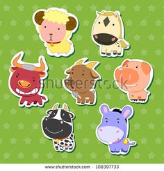cute animal stickers with sheep, bull, goat, dairy cattle, donkey, pig, and horse.