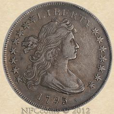 1795 Draped Bust Dollar XF40 PCGS Off-Center, obverse.