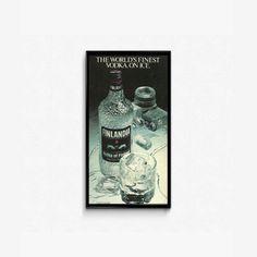 FInlandia Vodka of Finalnd  Silver Ice Vodka  Unique Vodka Ad  Rare Vodka Brand  Luxury Advertising  Imported Vodka 1980s Drink On Ice by RetroPapers