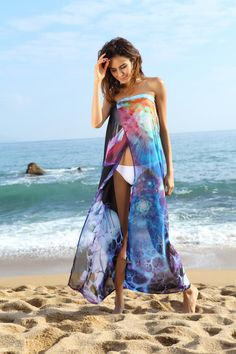 670098d10e Cheap Blue Floral Print Chiffon Beach Cover-up online - All Products