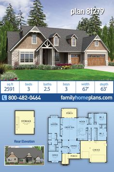 This striking craftsman home plan caught our eye immediately. Great curb appeal is the obvious thing that comes to mind at first glance. Almost 2600 square feet of heated living space in this open flo Bungalow Homes, Bungalow House Plans, Craftsman Style House Plans, Ranch Style Homes, Modern House Plans, House Floor Plans, Craftsman Bungalows, Craftsman Ranch, Affordable House Plans