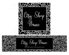 Etsy Cover Photo - Etsy Shop Covers - Black and White Etsy Shop Covers Etsy Covers 2 Piece Etsy Shop Cover Set Classy Swirls White on Black by RhondaJai on Etsy