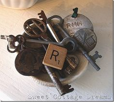 Fill a butter pat with old keys, buttons, locker tags and whatever else will live there happily together for a funky vignette.