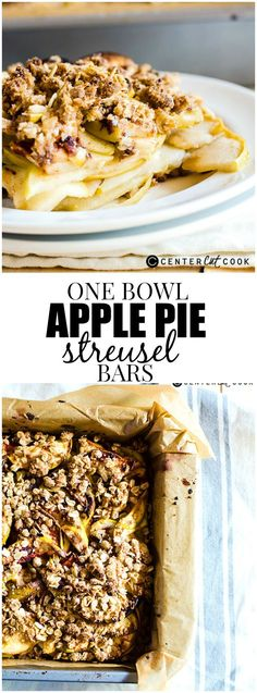 One Bowl Apple Pie Streusel Bars Recipe! You can make these easy delicious bars without making a disaster in the kitchen