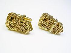 Vintage SWANK Cufflinks gold tone Belt Design by unclesteampunk